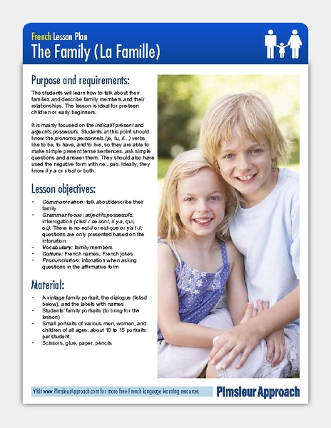 The Family (La Famille) Lesson Plan