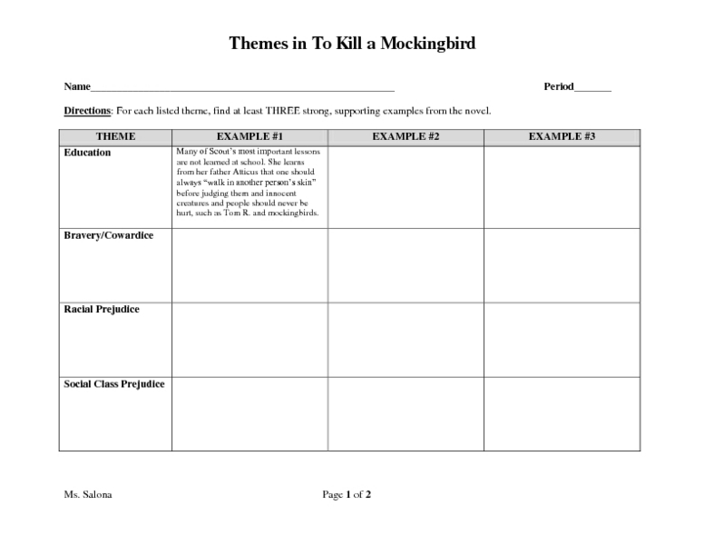 Themes in To Kill a Mockingbird 8th 9th Grade Worksheet – To Kill a Mockingbird Worksheets