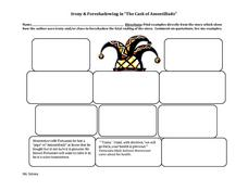 "Irony & Foreshadowing in ""The Cask of Amontillado""  Graphic Organizer"