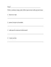Travel Expressions Worksheet