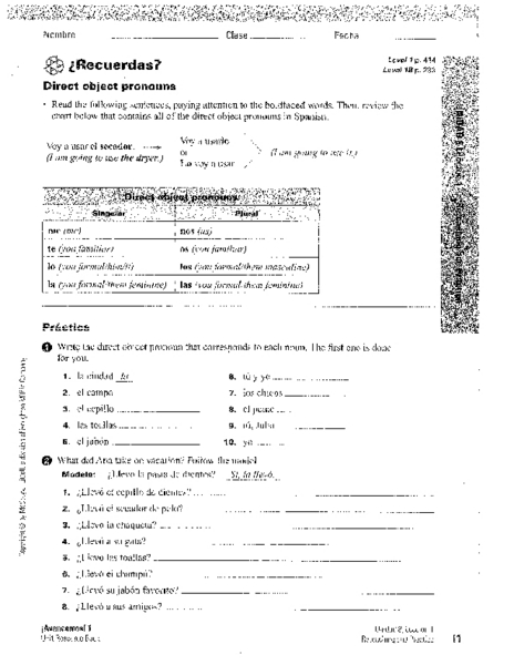 ¿Recuerdas? Direct Object Pronouns  Worksheet