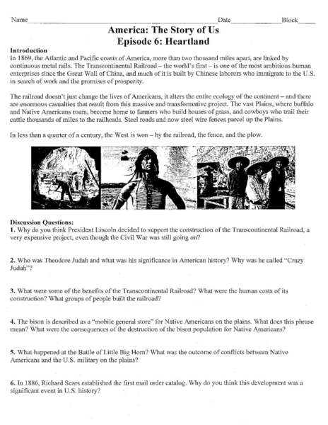 America: The Story of Us Episode 6: The Heartland  Worksheet