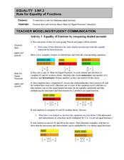 Rule for Equality of Fractions Lesson Plan