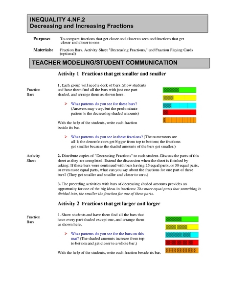 Decreasing and Increasing Fractions Lesson Plan