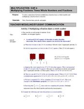 Multiplying Fractions Times Whole Numbers and Fractions Lesson Plan
