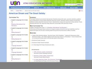American Dream and The Great Gatsby Lesson Plan