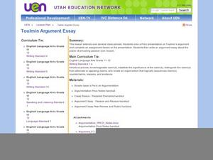 Toulmin Argument Essay Lesson Plan