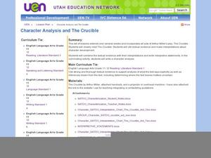 Character Analysis and The Crucible Lesson Plan