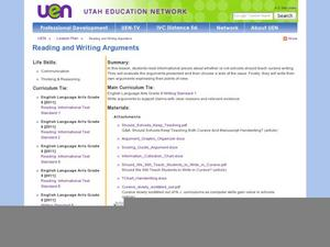 Reading and Writing Arguments Lesson Plan