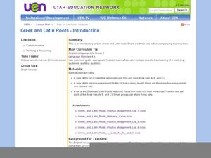 Greek and Latin Roots- Introduction Lesson Plan