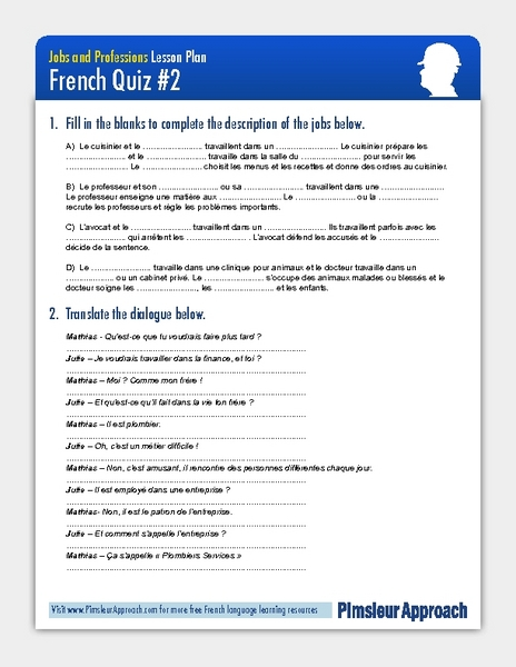 French Quiz: Jobs and Professions Worksheet for 7th - 9th Grade ...