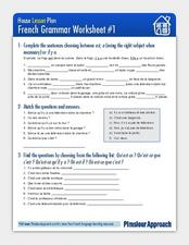 House Lesson Plan: French Grammar Worksheet  Worksheet