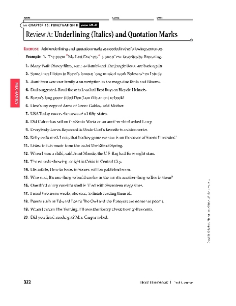 Underlining (Italics) and Quotation Marks Worksheet for 7th - 9th ...