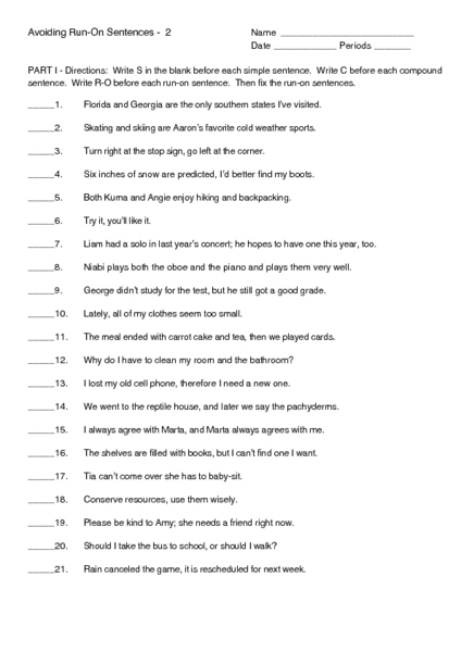 Avoiding Run-on Sentences 2 Worksheet for 6th - 9th Grade | Lesson ...