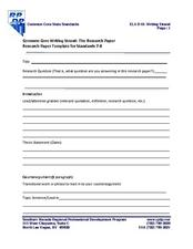 Common Core Writing Strand: The Research Paper Template for Standards 7-8 Printables & Template