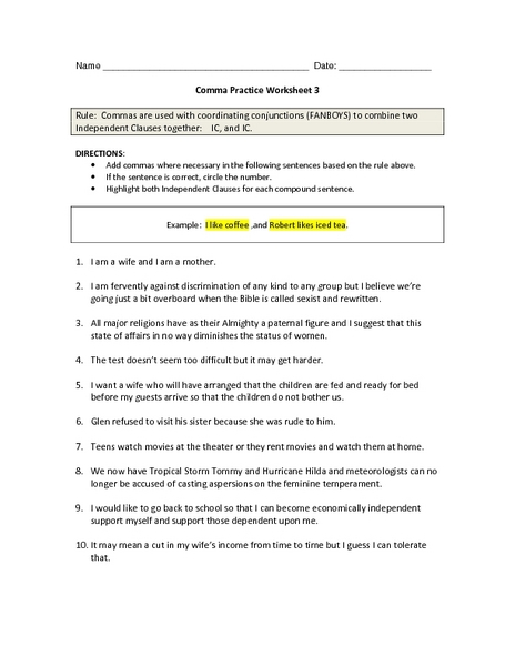 Comma Practice Worksheet 3 6th - 9th Grade Worksheet | Lesson Planet