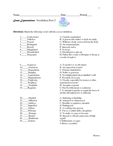 Great Expectations- Vocabulary Part 2 Worksheet