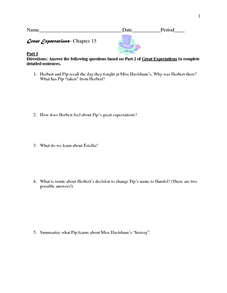 Great Expectations- Chapter 15  Worksheet