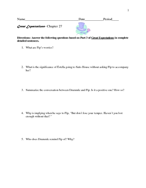 Great Expectations- Chapter 27  Worksheet