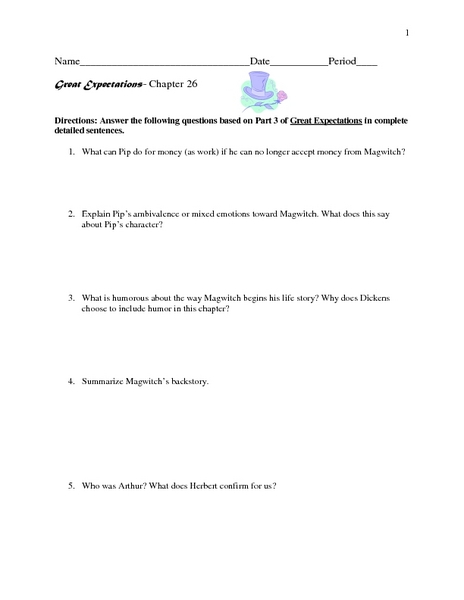 Great Expectations-Chapter 26 Worksheet