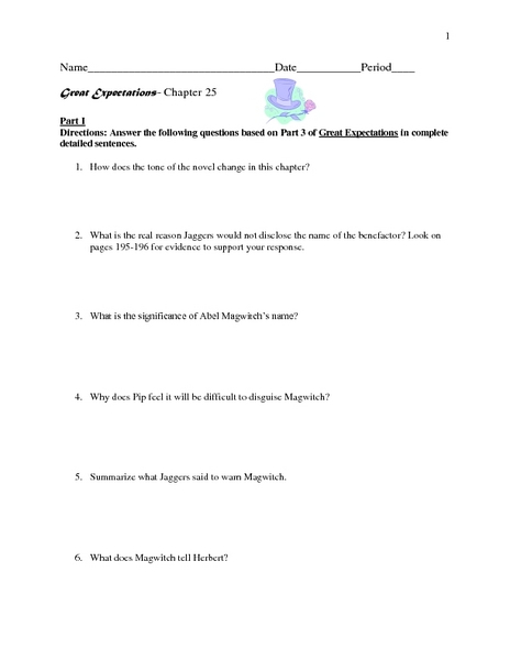 Great Expectations-Chapter 25  Worksheet