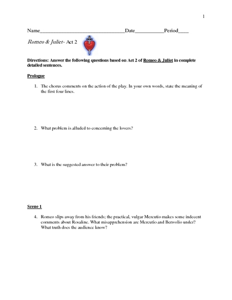 Romeo and Juliet-Act 2  Worksheet