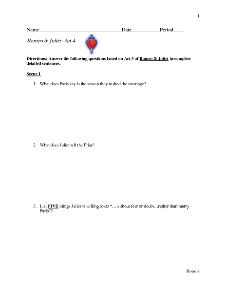 Romeo & Juliet - Act IV: Study Guide Worksheet