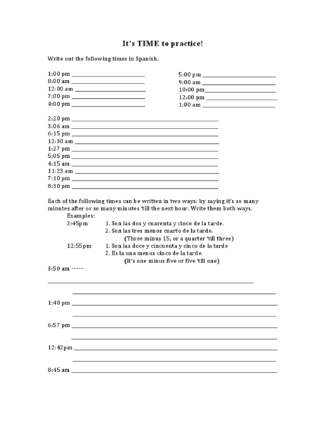 It's Time to Practice! Worksheet