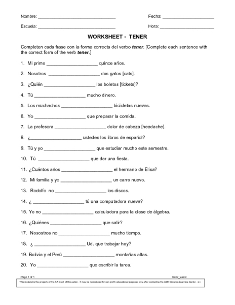 Conjugate Tener Worksheet For 6th 8th Grade Lesson Planet