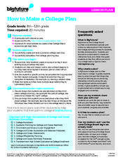 How to Make a College Plan Lesson Plan