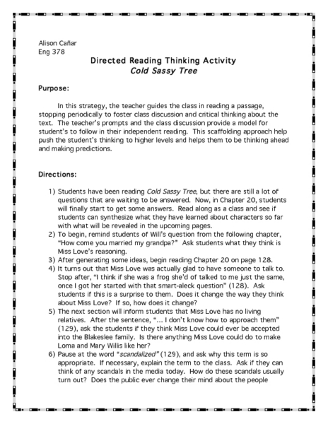Directed Reading Thinking Activity: Cold Sassy Tree  Lesson Plan