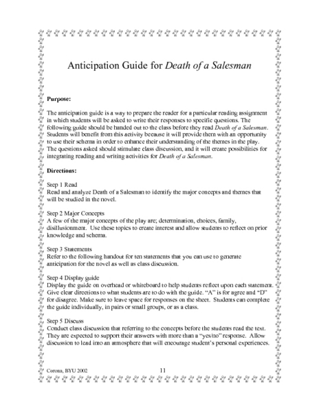 Anticipation Guide for Death of a Salesman Lesson Plan