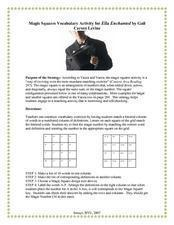 Magic Squares Vocabulary Activity for Ella Enchanted by Gail Carson Levine  Worksheet