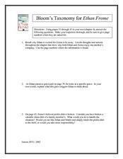 Bloom's Taxonomy for Ethan Frome: Chapter Four Worksheet