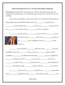 Cloze Reading Lesson Plans & Worksheets   Lesson Planet