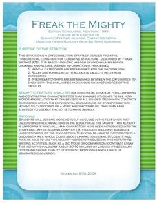 freak the mighty chapter 18 semantic feature analysis lesson plan for 7th 8th grade lesson. Black Bedroom Furniture Sets. Home Design Ideas