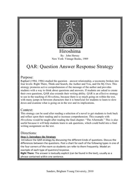 Hiroshima: Question Answer Response Strategy (QAR) Lesson Plan
