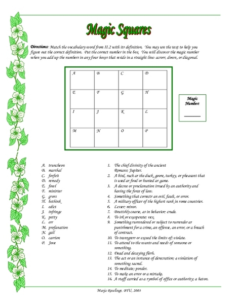 Magic Squares Vocabulary Lesson Plans Worksheets