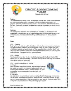 Night: Directed Reading Thinking Activity Lesson Plan