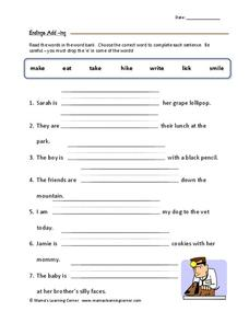 Endings: Add –ing Worksheet