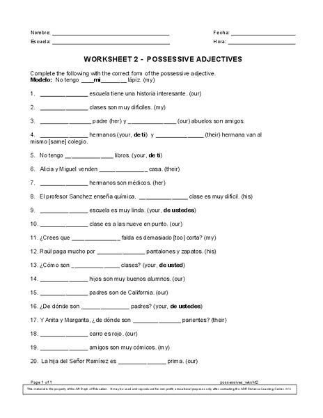 Possessive Adjectives - Worksheet 2 Worksheet for 9th - 10th ...