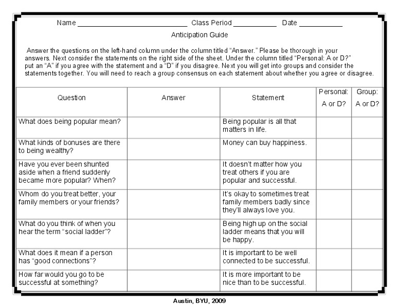 Great Expectations: Anticipation Guide Worksheet