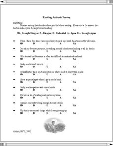 Harry Potter And The Chamber of Secrets: Reading Attitude Survey Worksheet