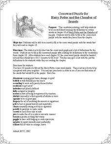 Crossword Puzzle for Harry Potter and the Chamber of Secrets Worksheet