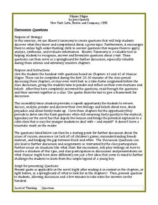 Maniac Magee: Discussion Questions Worksheet