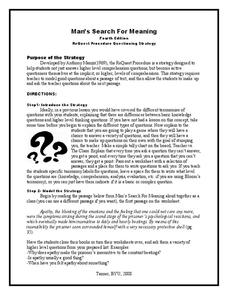 Man's Search for Meaning: ReQuest Procedure Questioning Strategy Lesson Plan