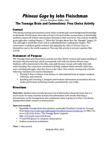 Phineas Gage: The Teenage Brain and Connections: Free Choice Activity Lesson Plan