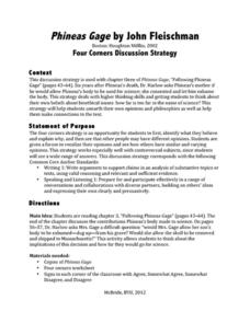 Phineas Gage: Four Corners Discussion Strategy Lesson Plan