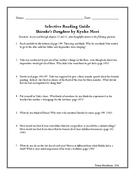 Shizuko's Daughter: Selective Reading Guide Lesson Plan