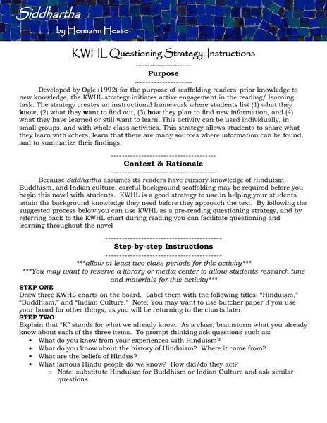 KWHL Questioning Strategy Instructions: Siddhartha Lesson Plan